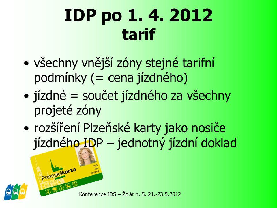 všechny vnější zóny stejné tarifní podmínky (= cena jízdného) jízdné = součet jízdného za všechny projeté zóny rozšíření Plzeňské karty jako nosiče jí