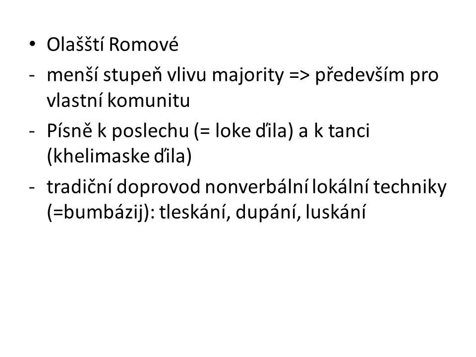 Olašští Romové -menší stupeň vlivu majority => především pro vlastní komunitu -Písně k poslechu (= loke ďila) a k tanci (khelimaske ďila) -tradiční do