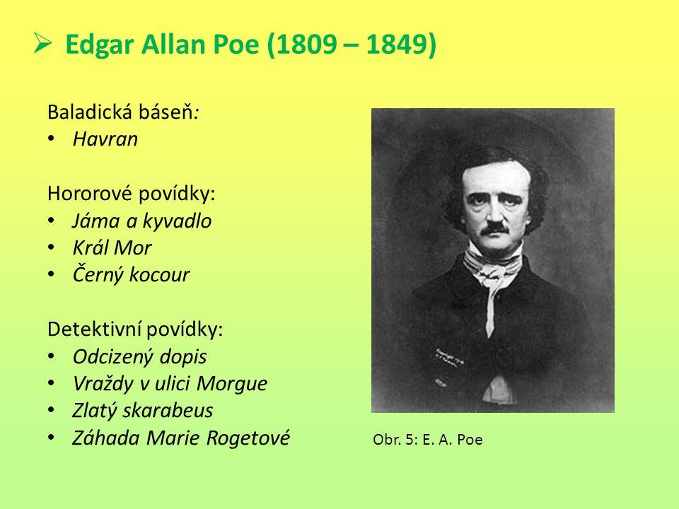  Edgar Allan Poe (1809 – 1849) Baladická báseň: Havran Hororové povídky: Jáma a kyvadlo Král Mor Černý kocour Detektivní povídky: Odcizený dopis Vraž