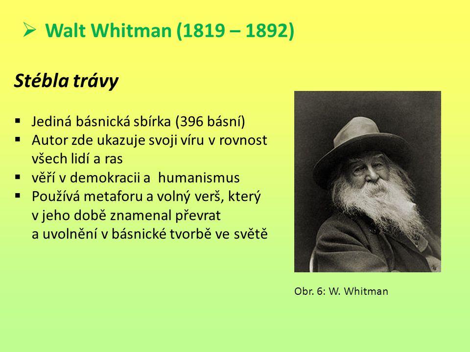 Walt Whitman (1819 – 1892) Stébla trávy  Jediná básnická sbírka (396 básní)  Autor zde ukazuje svoji víru v rovnost všech lidí a ras  věří v demo