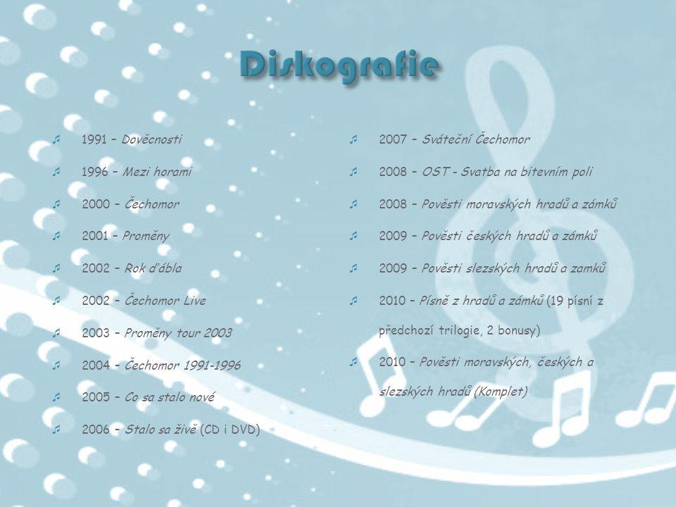  1991 – Dověcnosti  1996 – Mezi horami  2000 – Čechomor  2001 – Proměny  2002 – Rok ďábla  2002 – Čechomor Live  2003 – Proměny tour 2003  200