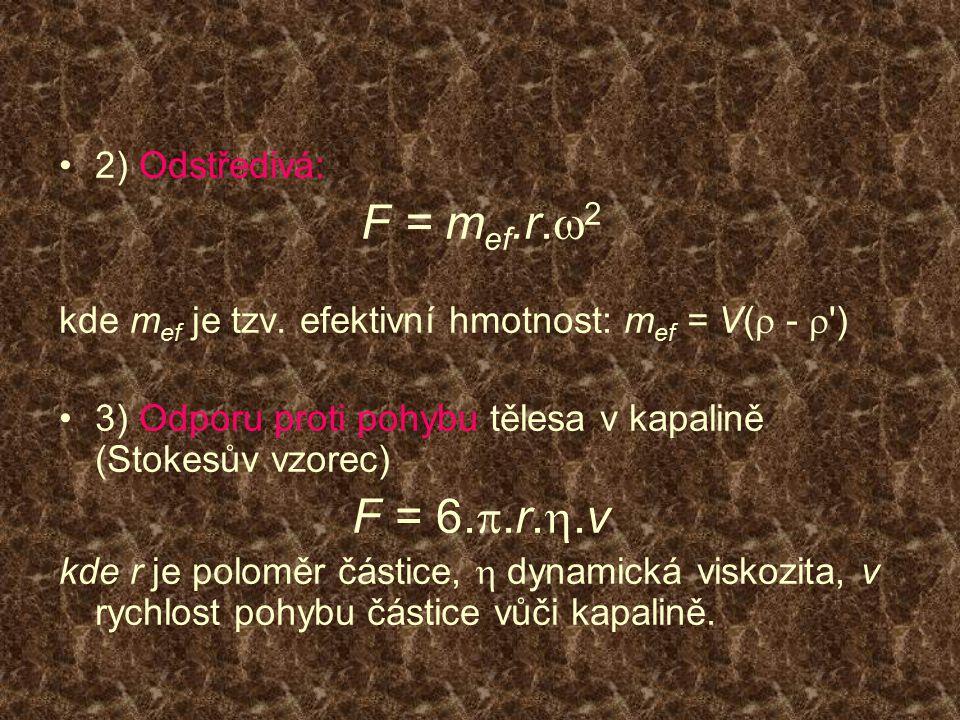 2) Odstředivá: F = m ef.r.  2 kde m ef je tzv. efektivní hmotnost: m ef = V(  -  ') 3) Odporu proti pohybu tělesa v kapalině (Stokesův vzorec) F =