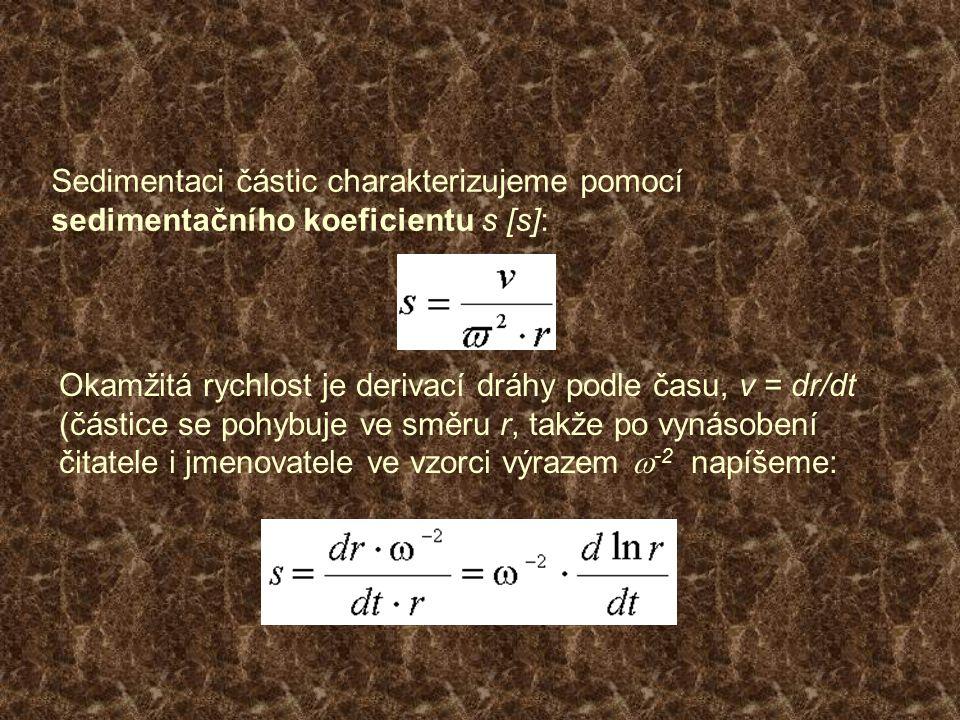 Sedimentaci částic charakterizujeme pomocí sedimentačního koeficientu s [s]: Okamžitá rychlost je derivací dráhy podle času, v = dr/dt (částice se poh