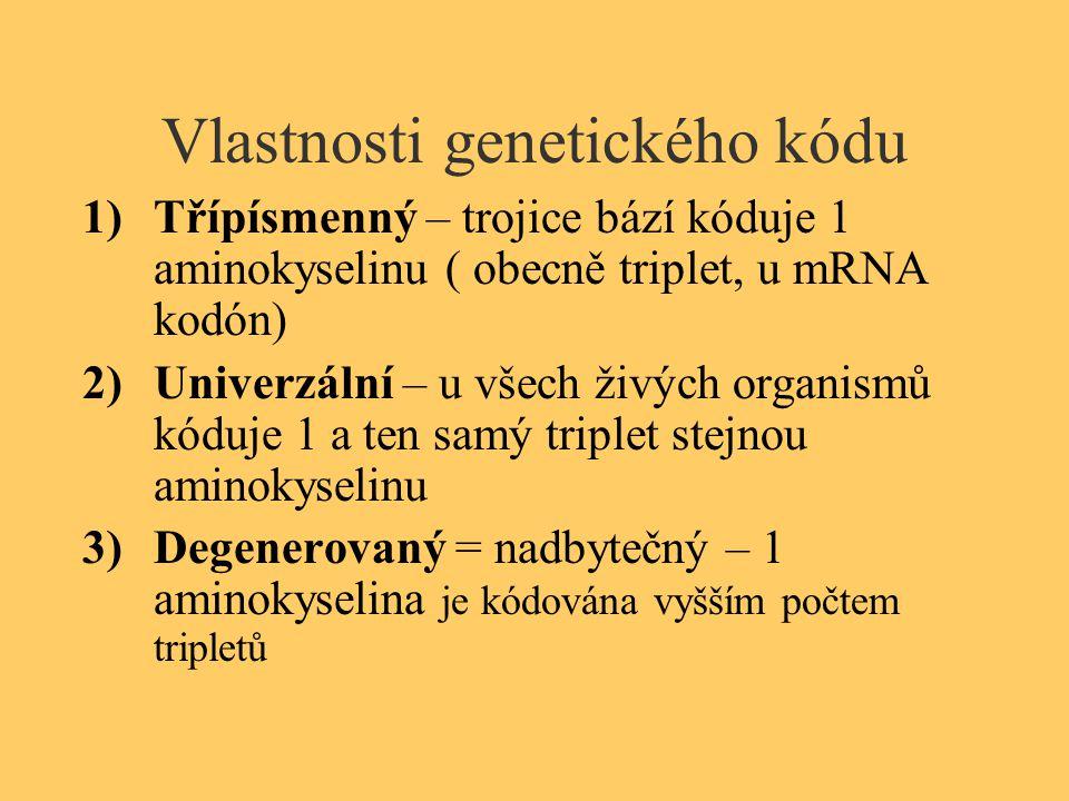 Vlastnosti genetického kódu 1)Třípísmenný – trojice bází kóduje 1 aminokyselinu ( obecně triplet, u mRNA kodón) 2)Univerzální – u všech živých organis