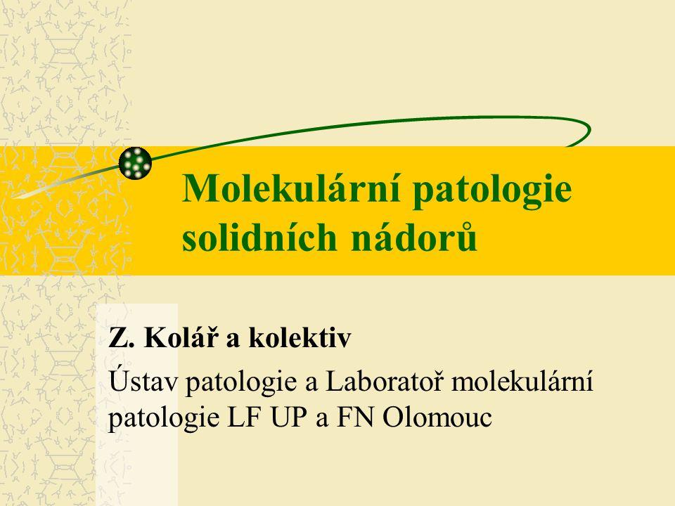 Molekulární patologie Tento obor se zabývá studiem procesů souvisejících se vznikem a rozvojem chorob, a to na úrovni nukleových kyselin a proteinů, respektive jiných molekul, které jsou jimi regulovány.