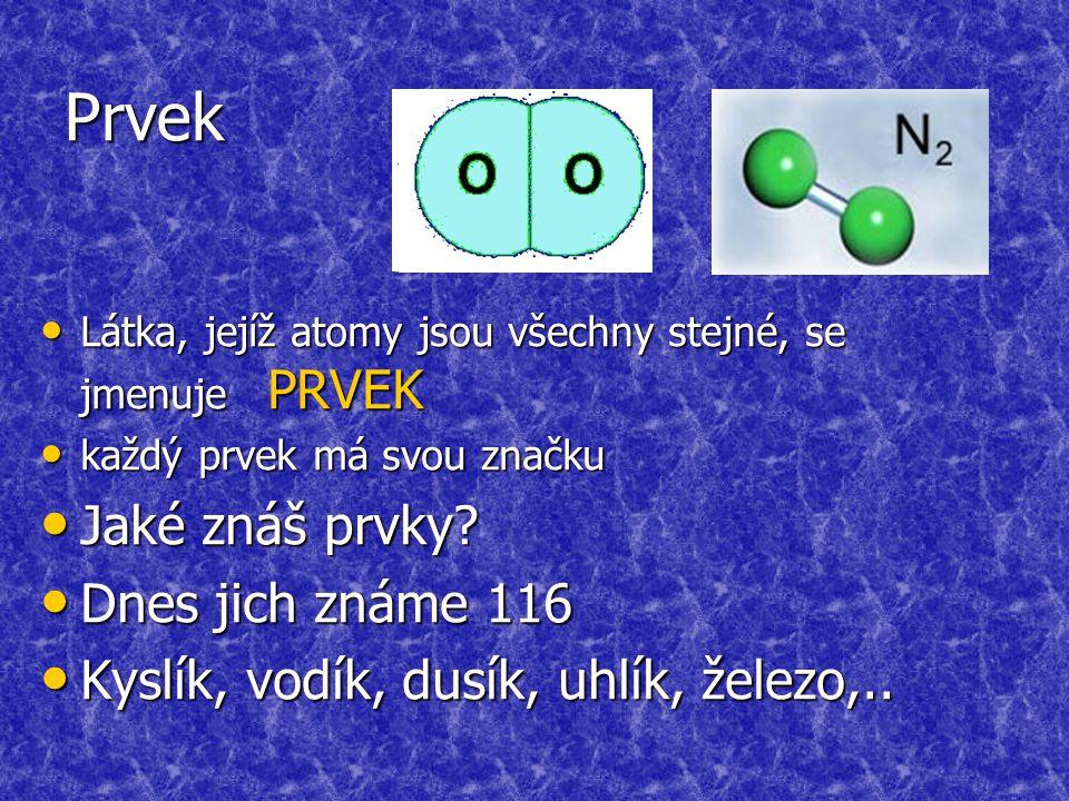 Prvek Látka, jejíž atomy jsou všechny stejné, se jmenuje PRVEK Látka, jejíž atomy jsou všechny stejné, se jmenuje PRVEK každý prvek má svou značku každý prvek má svou značku Jaké znáš prvky.