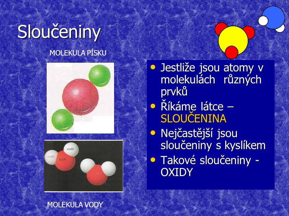 Sloučeniny Jestliže jsou atomy v molekulách různých prvků Jestliže jsou atomy v molekulách různých prvků Říkáme látce – SLOUČENINA Říkáme látce – SLOUČENINA Nejčastější jsou sloučeniny s kyslíkem Nejčastější jsou sloučeniny s kyslíkem Takové sloučeniny - OXIDY Takové sloučeniny - OXIDY MOLEKULA PÍSKU MOLEKULA VODY