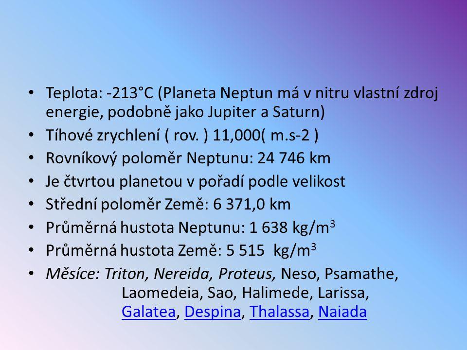 Teplota: -213°C (Planeta Neptun má v nitru vlastní zdroj energie, podobně jako Jupiter a Saturn) Tíhové zrychlení ( rov. ) 11,000( m.s-2 ) Rovníkový p