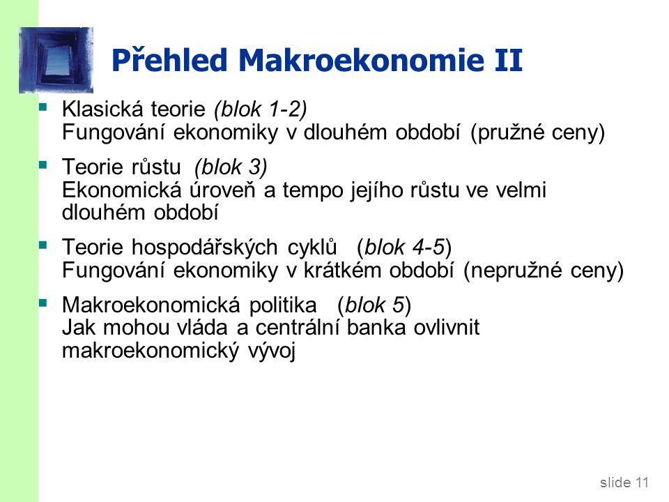 slide 11 Přehled Makroekonomie II  Klasická teorie (blok 1-2) Fungování ekonomiky v dlouhém období (pružné ceny)  Teorie růstu (blok 3) Ekonomická úroveň a tempo jejího růstu ve velmi dlouhém období  Teorie hospodářských cyklů (blok 4-5) Fungování ekonomiky v krátkém období (nepružné ceny)  Makroekonomická politika (blok 5) Jak mohou vláda a centrální banka ovlivnit makroekonomický vývoj