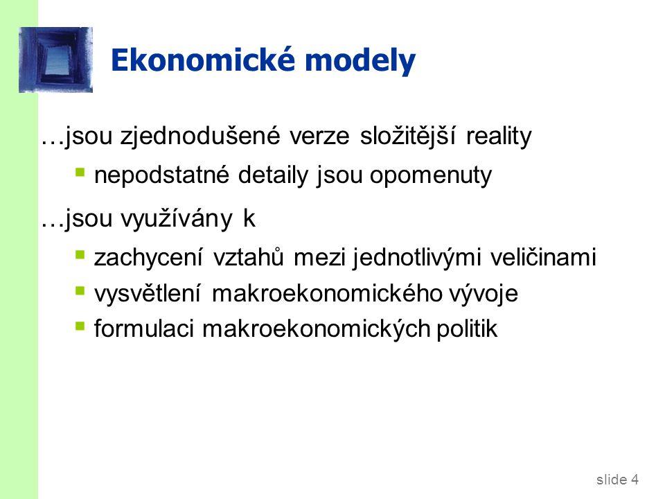 slide 4 Ekonomické modely …jsou zjednodušené verze složitější reality  nepodstatné detaily jsou opomenuty …jsou využívány k  zachycení vztahů mezi jednotlivými veličinami  vysvětlení makroekonomického vývoje  formulaci makroekonomických politik