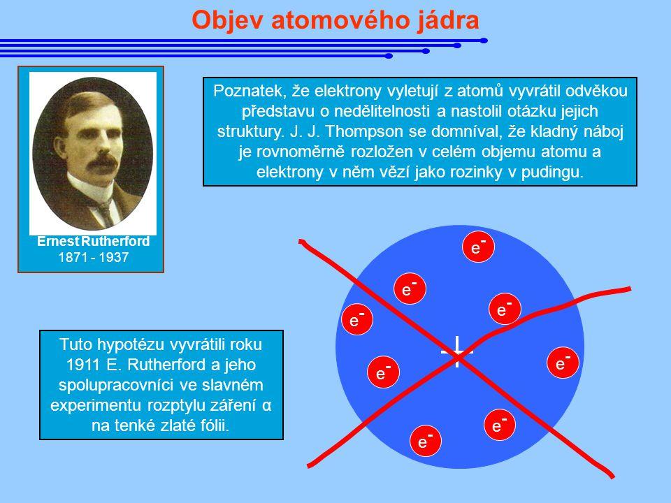Objev atomového jádra Ernest Rutherford 1871 - 1937 Poznatek, že elektrony vyletují z atomů vyvrátil odvěkou představu o nedělitelnosti a nastolil otá