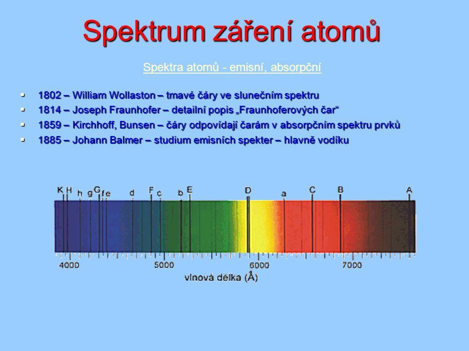 """Spektrum záření atomů  1802 – William Wollaston – tmavé čáry ve slunečním spektru  1814 – Joseph Fraunhofer – detailní popis """"Fraunhoferových čar"""" """