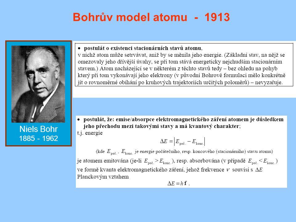 Niels Bohr 1885 - 1962 Bohrův model atomu - 1913