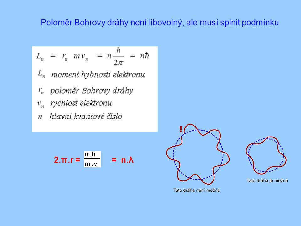 Poloměr Bohrovy dráhy není libovolný, ale musí splnit podmínku = n.λ2.π.r =
