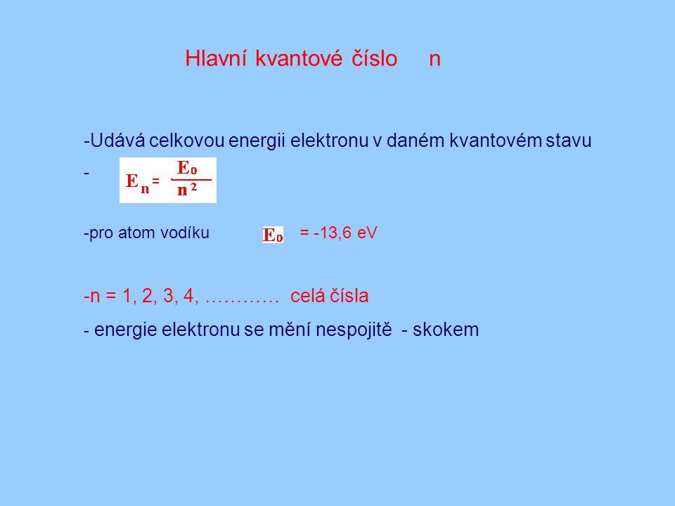 Hlavní kvantové číslo n -Udává celkovou energii elektronu v daném kvantovém stavu - -pro atom vodíku = -13,6 eV -n = 1, 2, 3, 4, ………… celá čísla - ene