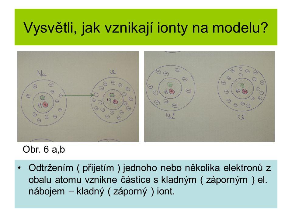 Vysvětli, jak vznikají ionty na modelu? Odtržením ( přijetím ) jednoho nebo několika elektronů z obalu atomu vznikne částice s kladným ( záporným ) el