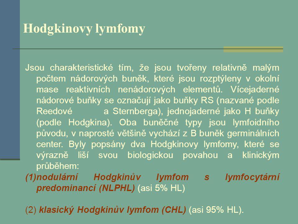 Hodgkinovy lymfomy Jsou charakteristické tím, že jsou tvořeny relativně malým počtem nádorových buněk, které jsou rozptýleny v okolní mase reaktivních