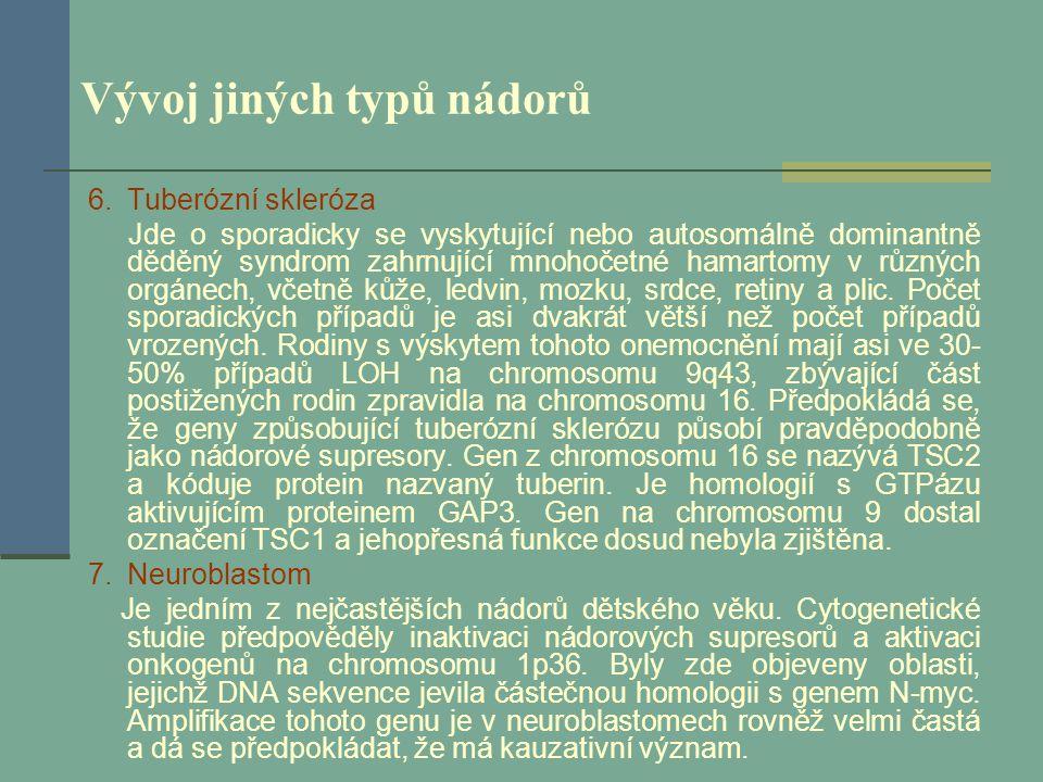 Vývoj jiných typů nádorů 6.Tuberózní skleróza Jde o sporadicky se vyskytující nebo autosomálně dominantně děděný syndrom zahrnující mnohočetné hamarto