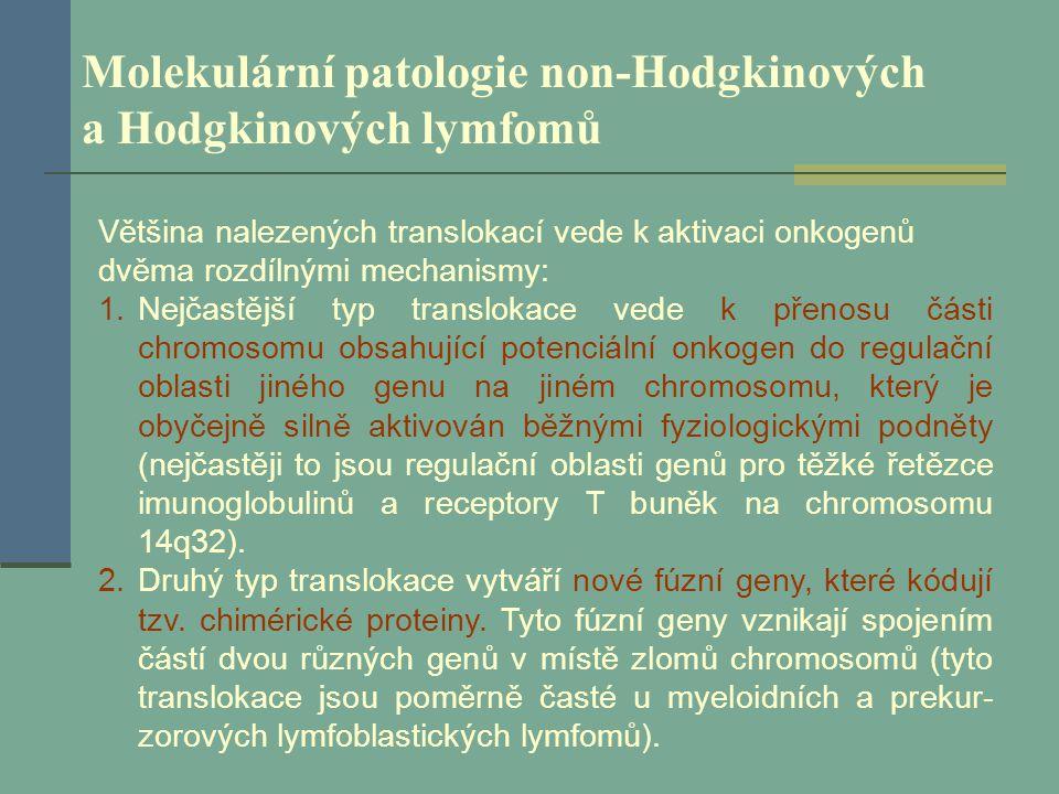 Molekulární patologie non-Hodgkinových a Hodgkinových lymfomů Většina nalezených translokací vede k aktivaci onkogenů dvěma rozdílnými mechanismy: 1.N