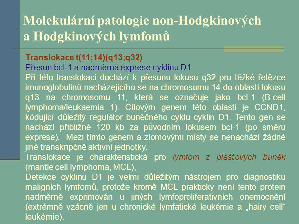Molekulární patologie non-Hodgkinových a Hodgkinových lymfomů Translokace t(11;14)(q13;q32) Přesun bcl-1 a nadměrná exprese cyklinu D1 Při této transl