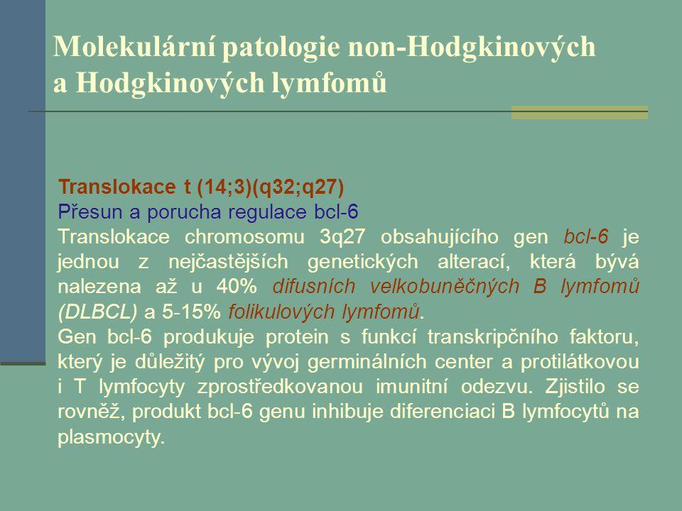 Molekulární patologie non-Hodgkinových a Hodgkinových lymfomů Translokace t (14;3)(q32;q27) Přesun a porucha regulace bcl-6 Translokace chromosomu 3q2