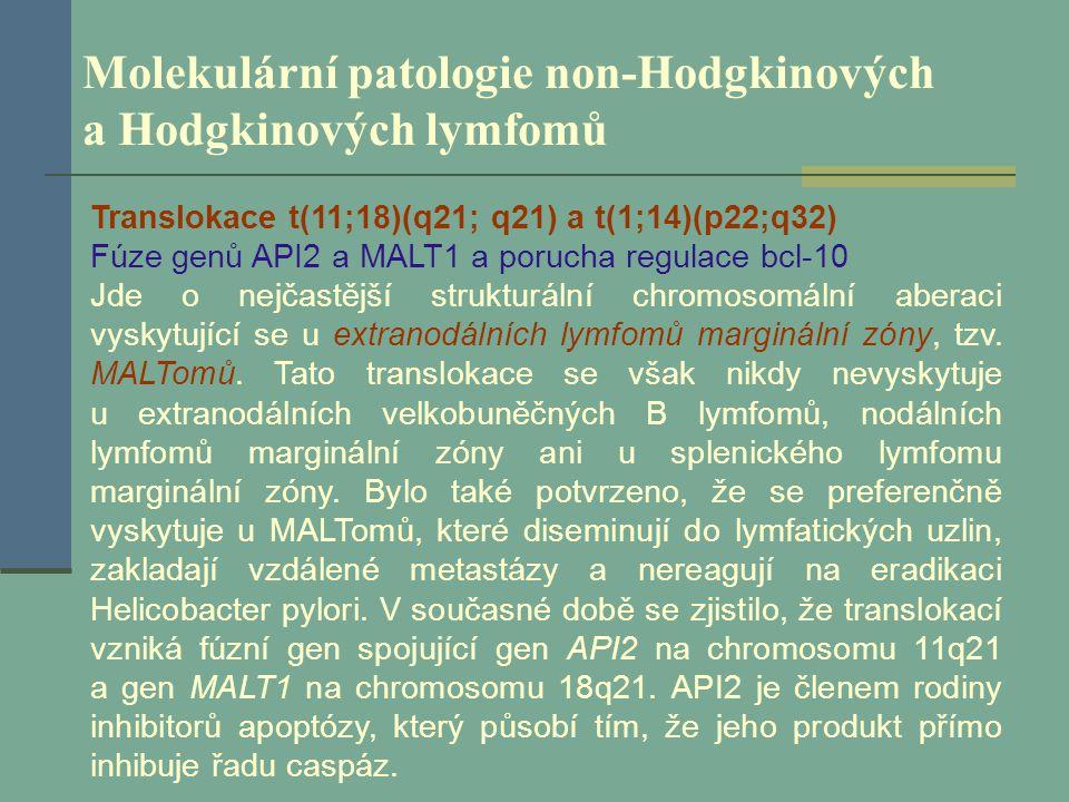 Molekulární patologie non-Hodgkinových a Hodgkinových lymfomů Translokace t(11;18)(q21; q21) a t(1;14)(p22;q32) Fúze genů API2 a MALT1 a porucha regul