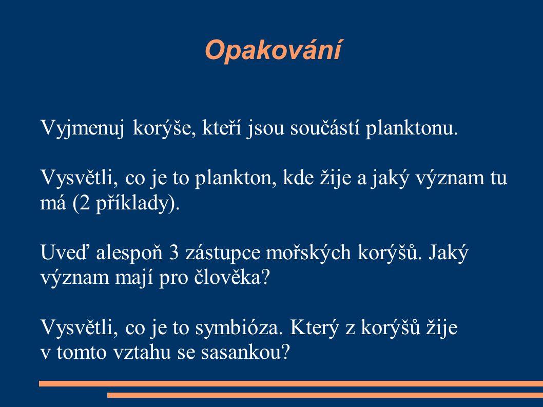 Opakování Vyjmenuj korýše, kteří jsou součástí planktonu. Vysvětli, co je to plankton, kde žije a jaký význam tu má (2 příklady). Uveď alespoň 3 zástu