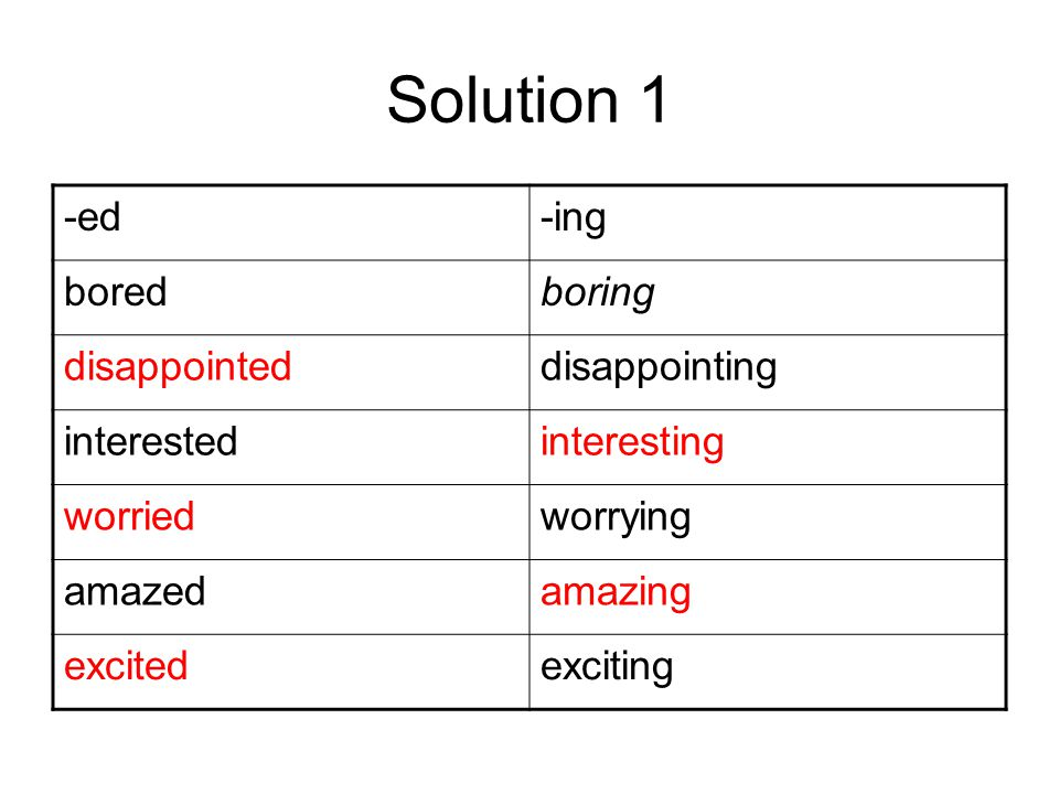 Solution 1 -ed-ing boredboring disappointeddisappointing interestedinteresting worriedworrying amazedamazing excitedexciting