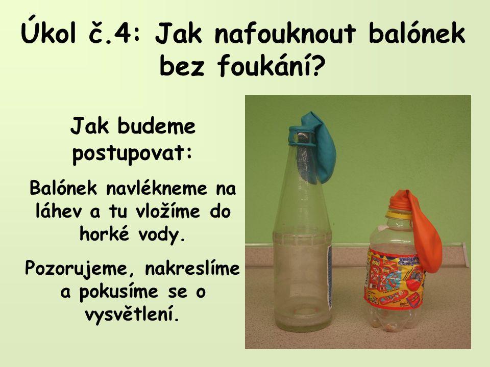 Úkol č.4: Jak nafouknout balónek bez foukání.