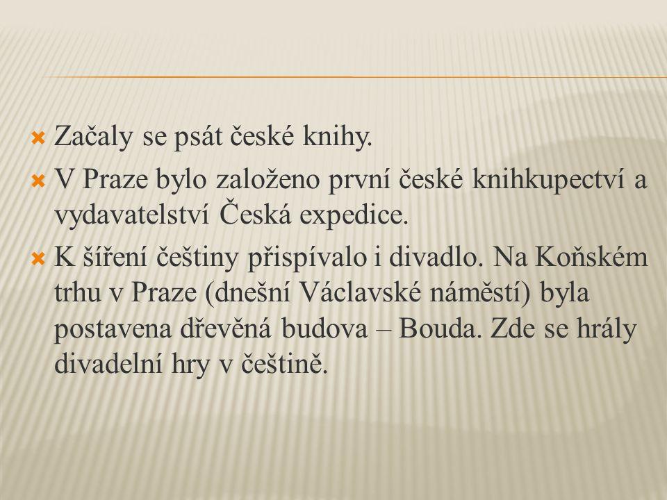  Začaly se psát české knihy.