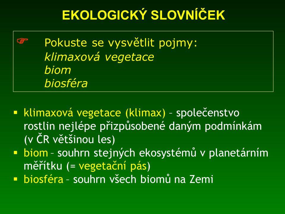 EKOLOGICKÝ SLOVNÍČEK  Pokuste se vysvětlit pojmy: klimaxová vegetace biom biosféra  klimaxová vegetace (klimax) – společenstvo rostlin nejlépe přizpůsobené daným podmínkám (v ČR většinou les)  biom – souhrn stejných ekosystémů v planetárním měřítku (= vegetační pás)  biosféra – souhrn všech biomů na Zemi