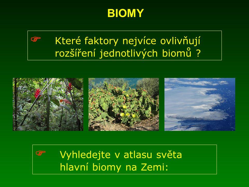 BIOMY  Které faktory nejvíce ovlivňují rozšíření jednotlivých biomů .