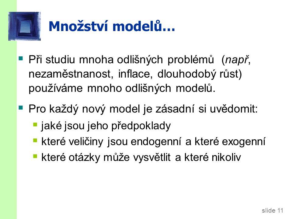 slide 11 Množství modelů…  Při studiu mnoha odlišných problémů (např, nezaměstnanost, inflace, dlouhodobý růst) používáme mnoho odlišných modelů.