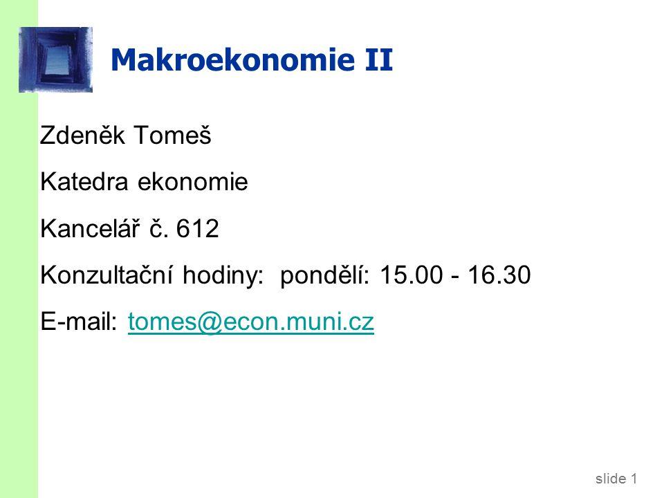 slide 1 Makroekonomie II Zdeněk Tomeš Katedra ekonomie Kancelář č.