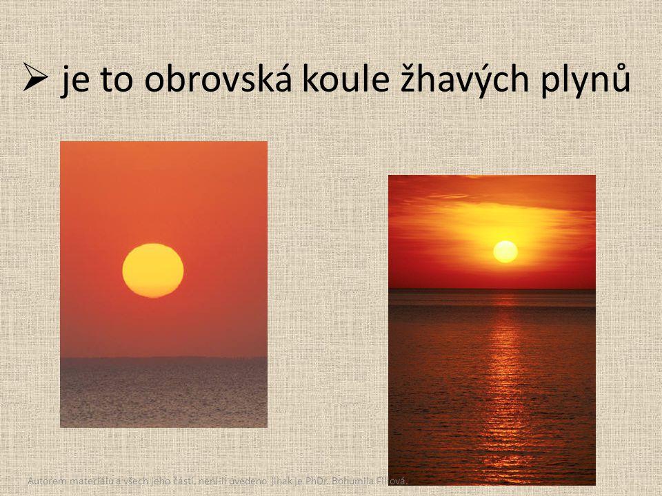  je to obrovská koule žhavých plynů Autorem materiálu a všech jeho částí, není-li uvedeno jinak je PhDr. Bohumila Fillová.