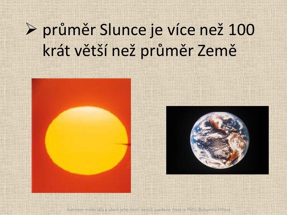 průměr Slunce je více než 100 krát větší než průměr Země Autorem materiálu a všech jeho částí, není-li uvedeno jinak je PhDr. Bohumila Fillová.