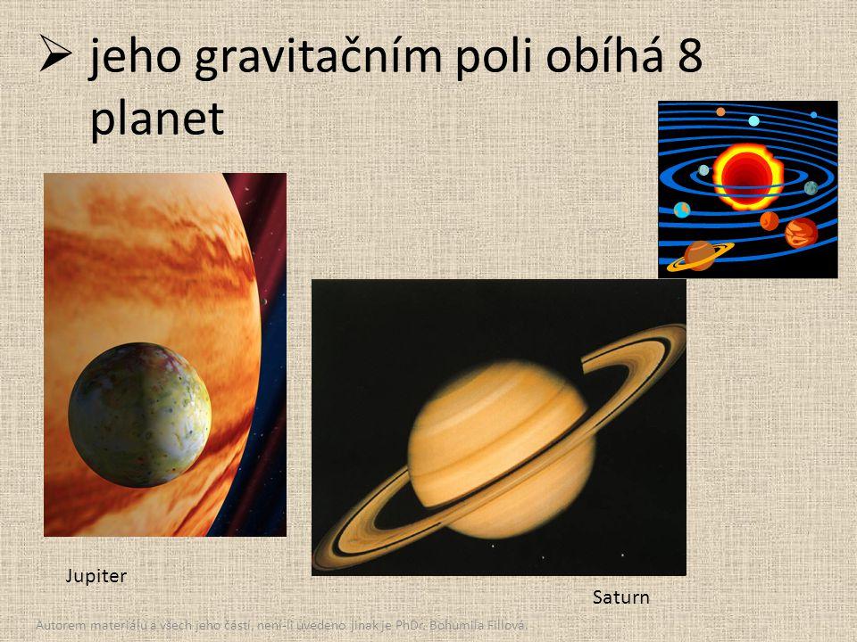  jeho gravitačním poli obíhá 8 planet Jupiter Saturn Autorem materiálu a všech jeho částí, není-li uvedeno jinak je PhDr. Bohumila Fillová.