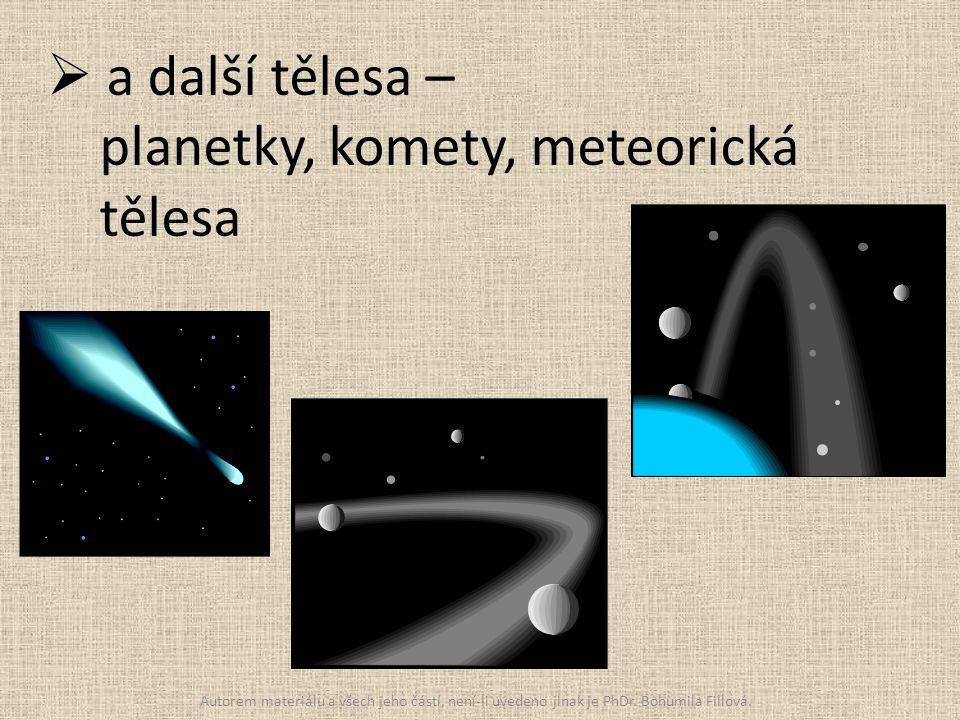  a další tělesa – planetky, komety, meteorická tělesa Autorem materiálu a všech jeho částí, není-li uvedeno jinak je PhDr. Bohumila Fillová.