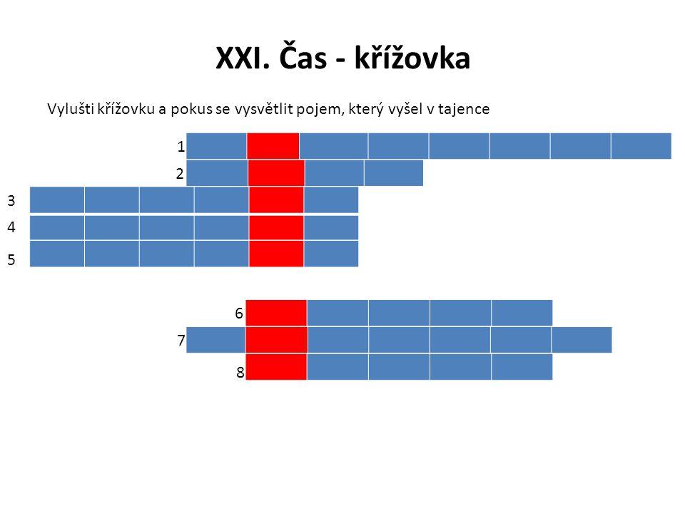 XXI. Čas - křížovka Vylušti křížovku a pokus se vysvětlit pojem, který vyšel v tajence 1 2 3 4 5 6 7 8