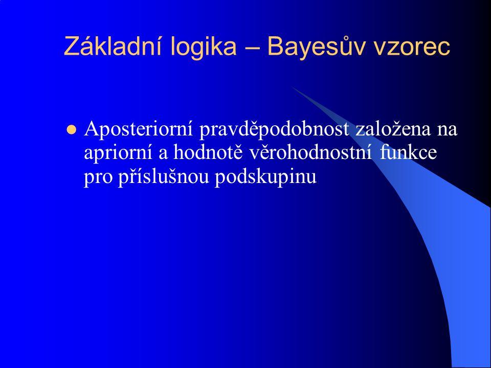 Základní logika – Bayesův vzorec Aposteriorní pravděpodobnost založena na apriorní a hodnotě věrohodnostní funkce pro příslušnou podskupinu