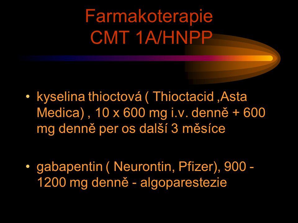Farmakoterapie CMT 1A/HNPP kyselina thioctová ( Thioctacid,Asta Medica), 10 x 600 mg i.v. denně + 600 mg denně per os další 3 měsíce gabapentin ( Neur