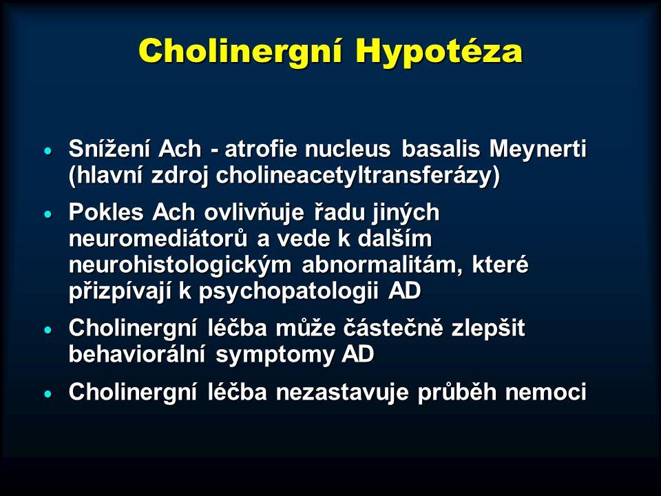 Cholinergní Hypotéza  Snížení Ach - atrofie nucleus basalis Meynerti (hlavní zdroj cholineacetyltransferázy)  Pokles Ach ovlivňuje řadu jiných neuro