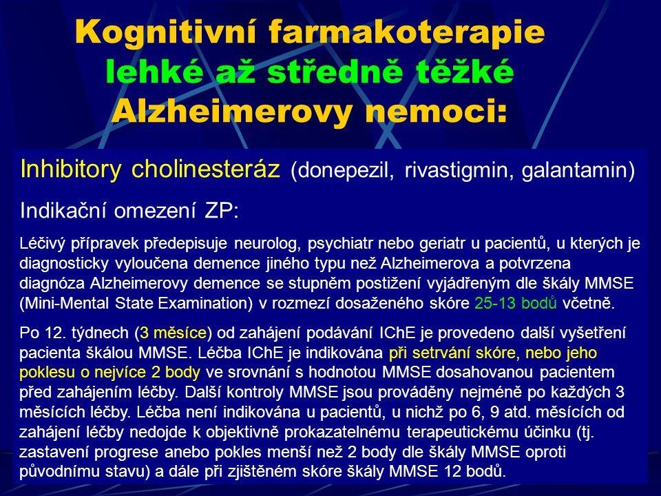 Kognitivní farmakoterapie lehké až středně těžké Alzheimerovy nemoci: Inhibitory cholinesteráz (donepezil, rivastigmin, galantamin) Indikační omezení