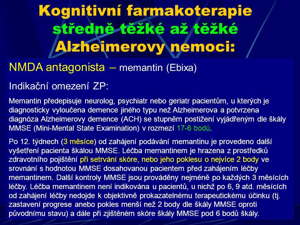NMDA antagonista – memantin (Ebixa) Indikační omezení ZP: Memantin předepisuje neurolog, psychiatr nebo geriatr pacientům, u kterých je diagnosticky v