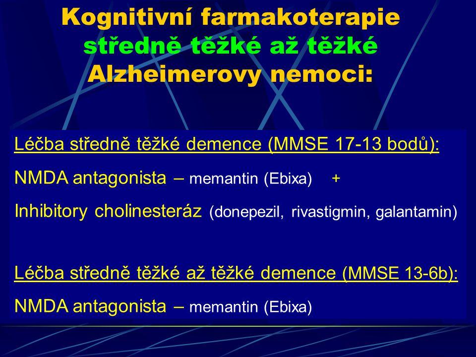 Kognitivní farmakoterapie středně těžké až těžké Alzheimerovy nemoci: Léčba středně těžké demence (MMSE 17-13 bodů): NMDA antagonista – memantin (Ebix