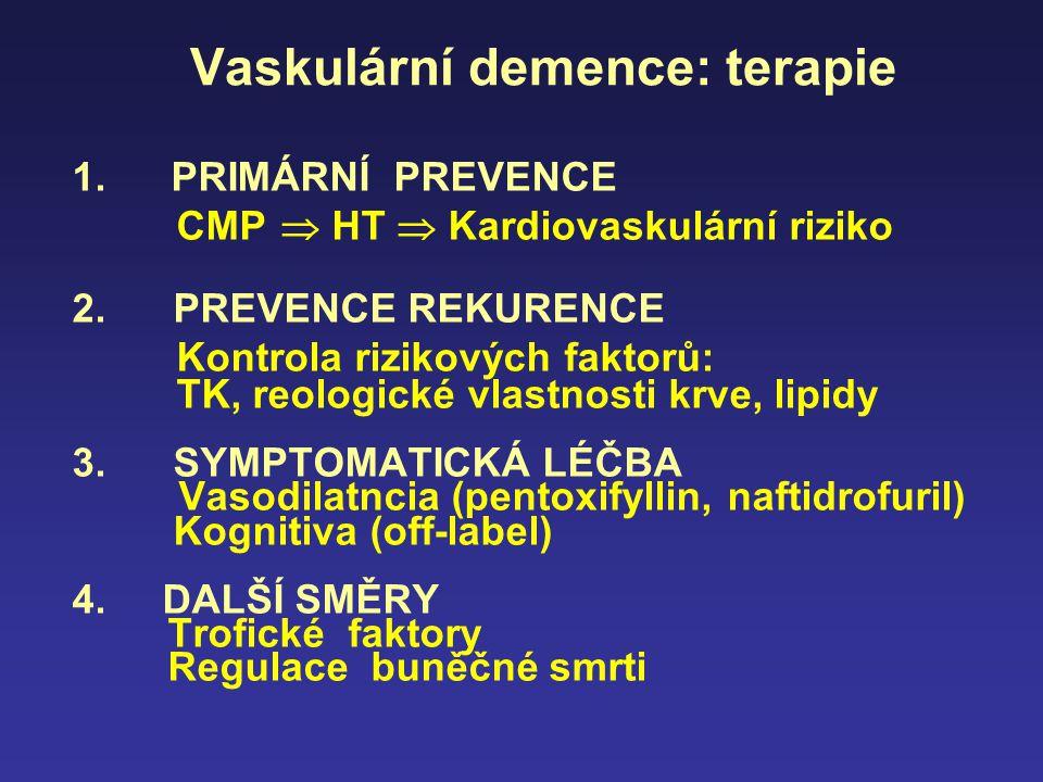 Vaskulární demence: terapie 1. PRIMÁRNÍ PREVENCE CMP  HT  Kardiovaskulární riziko 2. PREVENCE REKURENCE Kontrola rizikových faktorů: TK, reologické