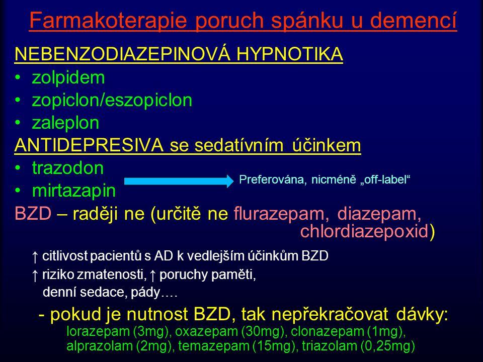Farmakoterapie poruch spánku u demencí NEBENZODIAZEPINOVÁ HYPNOTIKA zolpidem zopiclon/eszopiclon zaleplon ANTIDEPRESIVA se sedatívním účinkem trazodon