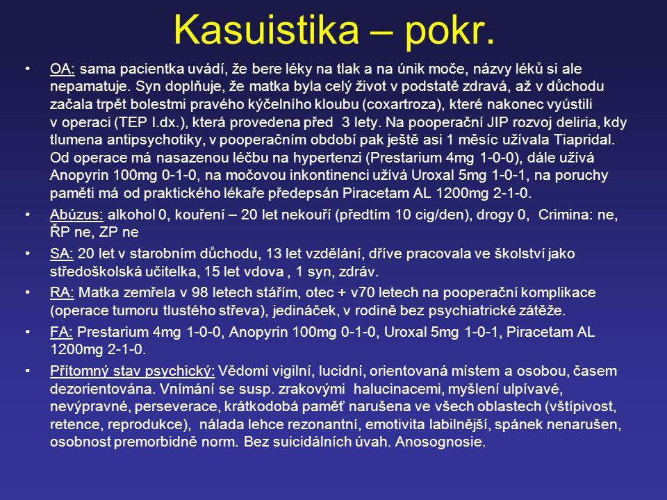 Kasuistika – pokr. OA: sama pacientka uvádí, že bere léky na tlak a na únik moče, názvy léků si ale nepamatuje. Syn doplňuje, že matka byla celý život