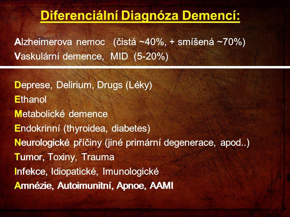 Alzheimerova nemoc (čistá ~40%, + smíšená ~70%) Vaskulární demence, MID (5-20%) Deprese, Delirium, Drugs (Léky) Ethanol Metabolické demence Endokrinní