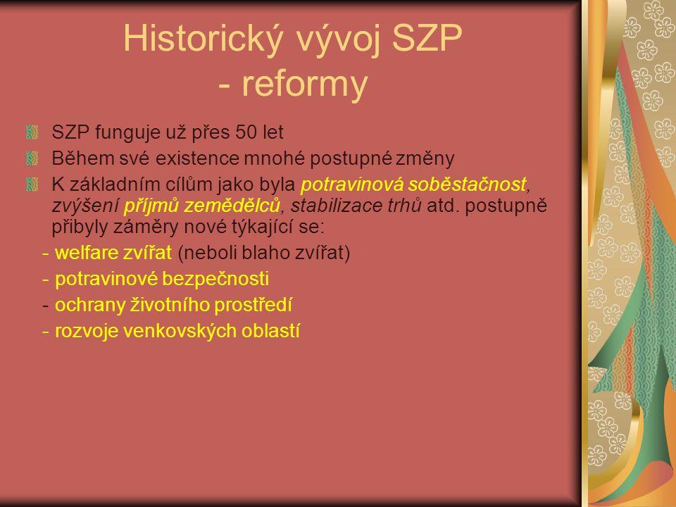 Historický vývoj SZP - reformy SZP funguje už přes 50 let Během své existence mnohé postupné změny K základním cílům jako byla potravinová soběstačnost, zvýšení příjmů zemědělců, stabilizace trhů atd.
